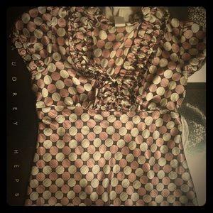 Polka dot brown/pink silky blouse